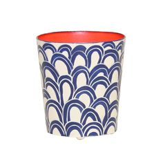 Worlds Away Oval Wastebasket Navy Cream And Orange