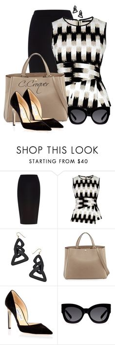 """BCBG Top"" by ccroquer ❤ liked on Polyvore featuring River Island, BCBGMAXAZRIA, Lisa August, Valextra, Jimmy Choo and Karen Walker"