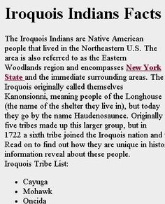 IROQUOIS INDIAN FACTS