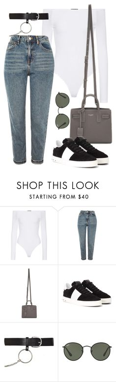 """""""Sin título #3863"""" by camilae97 ❤ liked on Polyvore featuring ATM by Anthony Thomas Melillo, Topshop, Yves Saint Laurent, Valentino and Ray-Ban"""