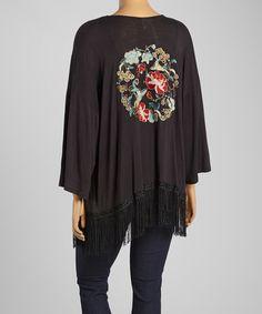 20 Look at this #zulilyfind! Black Floral Fringe Open Cardigan - Plus by Simply Irresistible #zulilyfinds