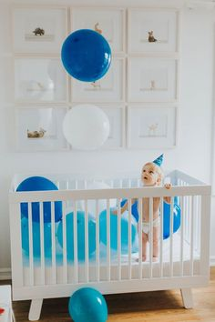 first birthday | in home shoot | crib plus balloons