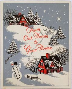 #906 40s Snowman & Winter Scene Serigraph-Vintage Christmas Greeting Card