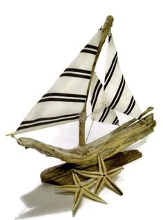 Striped Driftwood Sailboat by TheOliveTreeAtelier on Etsy, #teamupcyclers