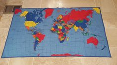 """Colorful WORLD MAP Cotton Fabric 36"""" x 44"""" Decor Kids School Learn Double Sided #FabricTraditions"""