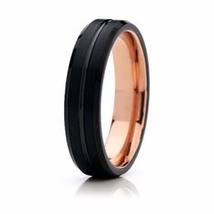 6mm Black with Rose Gold Tungsten Wedding Band
