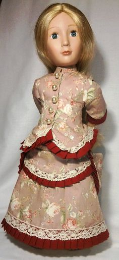 Victorian late 1800 A Girl for all time doll pink bustle dress Doll Clothes Patterns, Clothing Patterns, Dress Patterns, Doll Patterns, Clothing Ideas, Dress Outfits, Girl Outfits, Dresses, Victorian Dolls