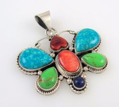Navajo Handmade Sterling Silver Multi-Stone Butterfly Pendant ROIE JAQUE  │RS BX
