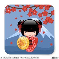 Boneca vermelha de Sakura Kokeshi - menina de Adesivo Quadrado