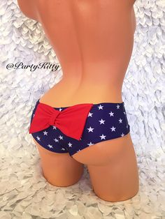 d75937c0b3 Cheeky Bow Booty Bikini Red White   Blue Flag Bathing Suit Bottoms Patriotic  4th of July Booty Short