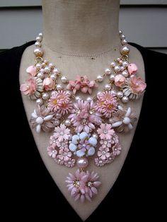 Vintage Flower Necklace Wedding Jewelry Statement by rebecca3030, $189.00