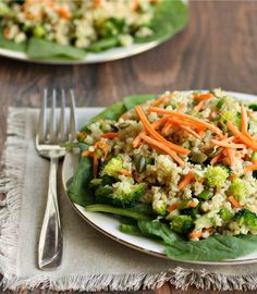 Recipe For Hearty Salad Made With Quinoa Carrots Broccoli Sunflower Seeds And Tahini Dressing