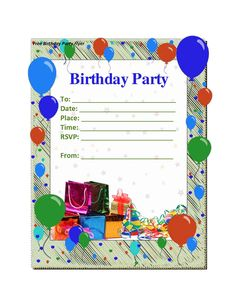 simple birthday invitation templates