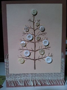 Cute Natural Christmas Card…with burlap & prim button tree. Button Christmas Cards, Christmas Buttons, Christmas Card Crafts, Button Cards, Homemade Christmas Cards, Christmas Projects, Kids Christmas, Homemade Cards, Handmade Christmas