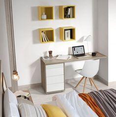 Novedades en dormitorios. Práctica zona de estudio o tocador con book de 3 cajones y medio y cuatro cubos expositores modelo Bahía. #homework