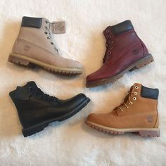 Timberland Premium Boots in Wheat, Jet Black, Grey and Burgundy! I realy like the Timberland boots! Timberland Premium Boots, Timberland Waterproof Boots, Timberland Boots Outfit, Black Timberlands, Timberland Fashion, Timberland Winter Boots, Tims Boots, Timberland Sneakers, Timberland Style