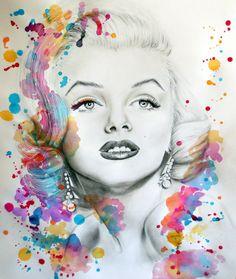 Marilyn Monroe pencil portrait and paint splash by ~JessicaJMiller on deviantART