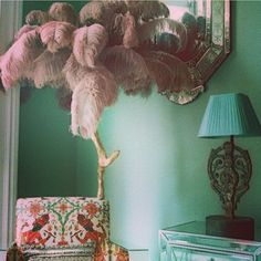 """ Matthew Williamson snaps a detail of his home interior design. Home Interior Design, Interior And Exterior, Interior Decorating, Bohemian Interior, Bohemian Decor, Boho, Feather Lamp, Feather Tree, Interior Inspiration"