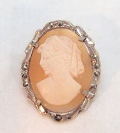 800 Silver Vintage Cameo Pin Pendant with by bitzofglitz4u on Etsy