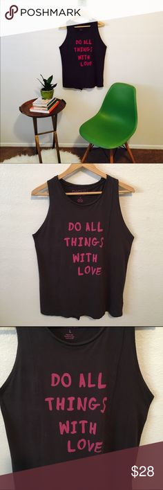 Open back graphic tank. Loved this Rachel Roy tank  slight raglan sleeve done in a grey/plum hue with hot pink phrasing on the front. Back is split to show off your back or wear a cami underneath for extra style. Great yoga or barre top! Soft cotton blend. RACHEL Rachel Roy Tops Tank Tops