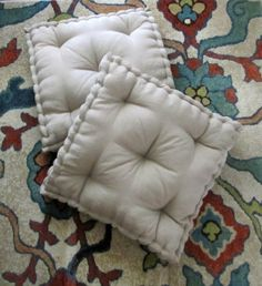 Linen Floor Pillow, Tufted Floor Cushion with French Mattress Quilting, Stuffed 24x24x4 Floor Pouf, Floor Seating, Custom Sizes Available