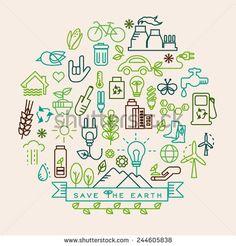 Eco vector. Ecology icon set.