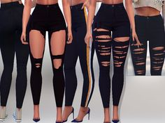 Black Ripped Denim Jeans - The Sims 4 The Sims 4 Pc, Sims Four, Sims 4 Cas, Sims Cc, Denim Jeans, Ripped Denim, Denim Shirts, Raw Denim, Black Denim