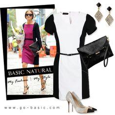 Monochrome Pencil Dress (Free Leather Belt)   Black & White  Olivia Palermo名媛奧利維亞 巴勒莫時尚,穿著拼接色塊洋裝Dresses,無需增添太多搭配,便有强烈存在感喔!