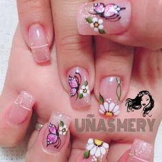 37+ Ideas Nails Art Floral Style 24 Butterfly Nail Designs, Easter Nail Designs, Butterfly Nail Art, Pink Nail Designs, Flower Nail Art, Beautiful Nail Designs, May Nails, Hair And Nails, Gorgeous Nails
