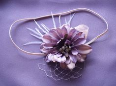 Couture Purple Flower Headband with Feathers Pearl Veiling for Newborns Infants Girls