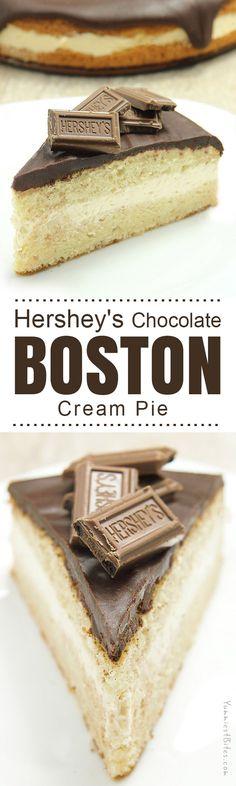 Boston Cream Pie with Dark Hershey's Chocolate Ganache
