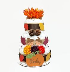 Fall Diaper Cake Baby Shower Centerpiece Gender Neutral Baby Diaper Cake With Autumn Leaves, Pumpkin, Acorns, Pine Cones, Orange Flower Bridal Shower Cakes, Baby Shower Party Favors, Baby Shower Fall, Baby Shower Centerpieces, Baby Shower Cakes For Boys, Baby Shower Diapers, Cake Baby, Gender Neutral Baby, Gorgeous Cakes
