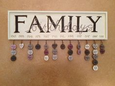 Hanging Family Birthday Calendar by HandpaintedByE on Etsy, $75.00