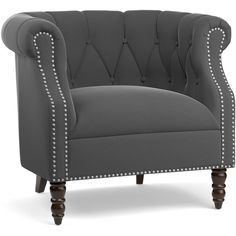 Portfolio Chesterfield Grey Velvet Arm Chair ($245) ❤ liked on Polyvore featuring home, furniture, chairs, accent chairs, grey, velvet armchair, gray accent chair, velvet accent chair, patterned accent chairs and gray armchair