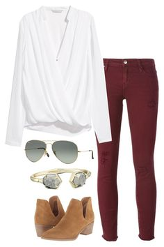 A fashion look from December 2015 featuring wrap blouse, red jeans and pointed toe ankle boots. Browse and shop related looks. Maroon Jeans, School Outfits, Polyvore Fashion, Autumn Fashion, Kendra Scott, Shoe Bag, My Style, Clothes, Shopping