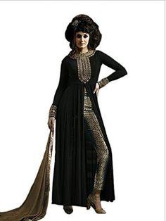 Black faux georgeet embroidered semi stitiched salwar with dupatta - Shiv Enterprise - 1101112 Designer Anarkali, Anarkali Suits, Straight Cut, Salwar Kameez, Party Wear, Beige, How To Wear, Color, Beautiful