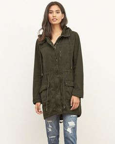 Lightweight Twill Parka : Lightweight and versatile with a longer length, zipper and snap closure, patch pockets and drawstring waist, hood and hem : Abercrombie.com