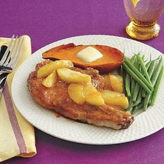 We love this classic pork chop and apple pairing for a healthy dinner at home with your family- even the kids will love it!
