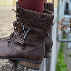 Castle Rock Brown Sweater Cuffed Combat Boot | Amazing Lace