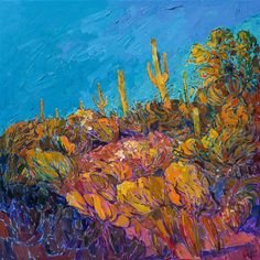 Saguaro Hill - Contemporary Impressionism | Landscape Oil Paintings for Sale by Erin Hanson