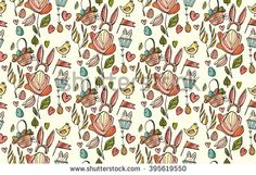 Cartoon hand drawn vector doodles on the subject Easter theme seamless pattern. Line art sketchy detailed, with lots of objects  bunny ears ,chicken, basket with Easter eggs in pastel colors. - stock vector