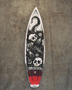 surphile: Davy Jones' quiver for Kai Otton. Surfboard Painting, Surfboard Art, Surfboard Table, Posca Art, Surf Design, Doodle Art Drawing, Surfing Pictures, Scary Art, Skateboard Design