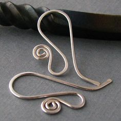 Interchangeable Ear Wires - Silver Filled Spiral French - Handmade Earring Findings - 2 pairs