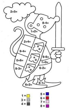 Math Coloring Pages Addition And Subtraction from School Coloring Pages category. Find out more nice pictures to color for your kids 1st Grade Math, Kindergarten Math, Preschool, Printable Math Games, Math Pages, School Coloring Pages, Color By Numbers, Math Addition, School Worksheets