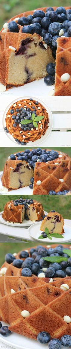 Bundt cake with white chocolate and blueberries - Pecados Confectionery