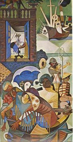Domingo Lisboeta, 1949 by Jose de Almada-Negreiros. Cubism. genre painting