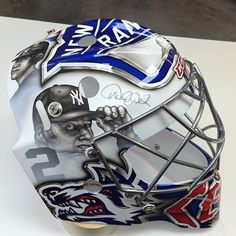 Baseball meets Hockey - AHL goalie Cedrick Desjardins is paying tribute to Derek Jeter with his mask.