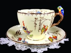 Parrot Handled Grafton Teacup and Saucer, Rare BAJ & Sons Tea Cup, Made in England