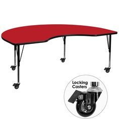 Mobile 48''W x 96''L Kidney Shaped Activity Table with 1.25'' Thick High Pressure Red Laminate Top and Height Adjustable Preschool Legs