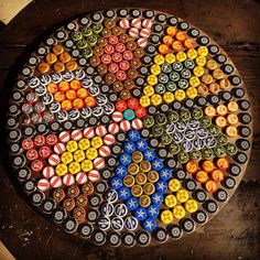 Ideas For Diy Table Resin Bottle Caps Beer Cap Table, Bottle Cap Table, Beer Bottle Caps, Bottle Cap Art, Beer Caps, Bottle Cap Images, Bottle Top Crafts, Bottle Cap Projects, Diy Bottle